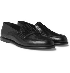 Loewe Collapsible-Heel Croc-Effect and Full-Grain Leather Penny Loafers