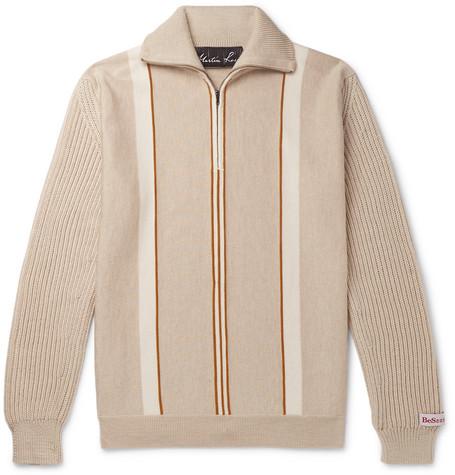 Martine Rose Sweaters STRIPED MERINO WOOL HALF-ZIP SWEATER