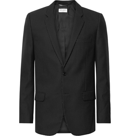 Saint Laurent Black Slim-Fit Bead-Embellished Wool Blazer