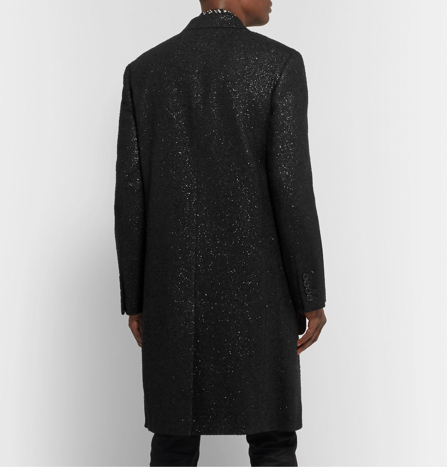 d1f39afdfd2 SAINT LAURENT - Metallic Woven Double-Breasted Overcoat