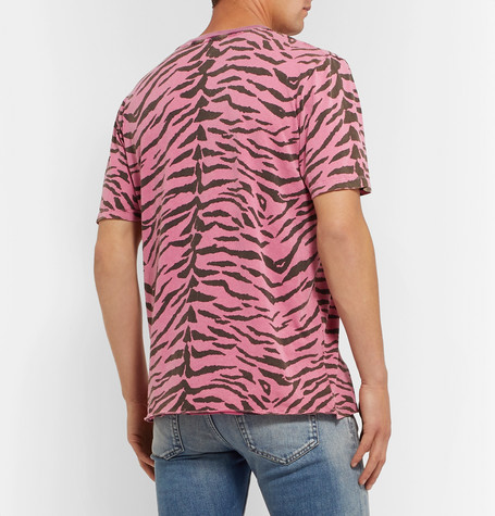 Saint Laurent Tiger-Print Cotton Crewneck T-Shirt In Pink