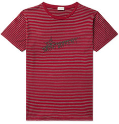 Saint Laurent Logo-Print Striped Cotton-Jersey T-Shirt