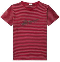 e4d0562680055c SAINT LAURENT - Logo-Print Striped Cotton-Jersey T-Shirt