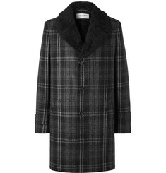 Saint Laurent Faux Shearling-Lined Checked Wool-Bouclé Overcoat