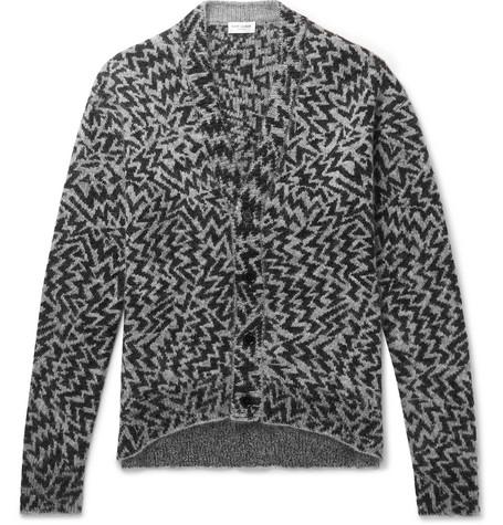 Saint Laurent Accessories Wool-Blend Jacquard Cardigan