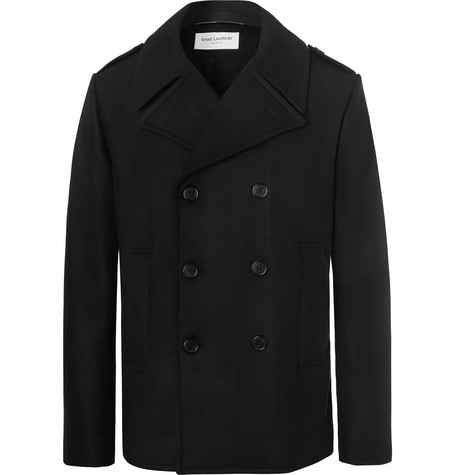 Saint Laurent Coats LEATHER-TRIMMED DOUBLE-BREASTED VIRGIN WOOL PEACOAT