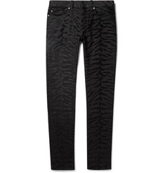 Saint Laurent Skinny-Fit Velvet-Flocked Denim Jeans