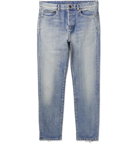029c1aa952 SAINT LAURENT - Skinny-Fit Distressed Denim Jeans