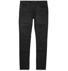 SAINT LAURENT - Skinny-Fit 15cm Hem Coated-Denim Jeans