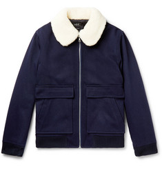 A.P.C. - Shearling-Trimmed Wool-Blend Twill Blouson Jacket