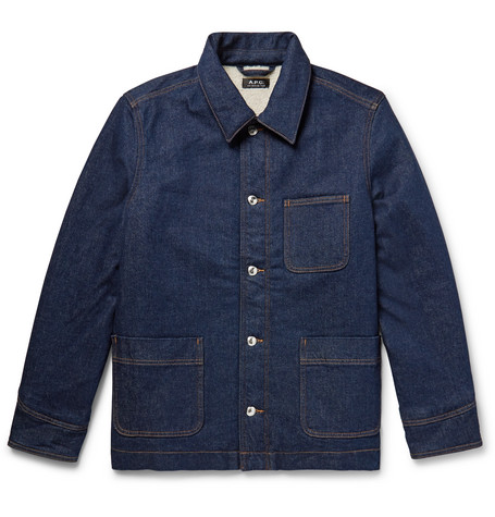 A.P.C. Axel Faux Shearling-Lined Denim Jacket