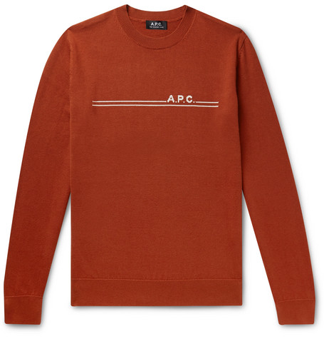 A.P.C. Logo-Intarsia Cotton and Cashmere-Blend Sweater