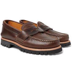 Yuketen Burnished-Leather Penny Loafers