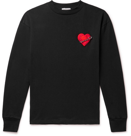 Palm Angels T-shirts PIN MY HEART APPLIQUÉD LOOPBACK COTTON-JERSEY T-SHIRT