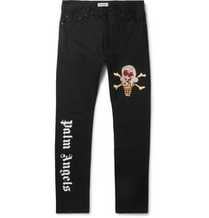 Palm Angels + ICECREAM Slim-Fit Logo-Appliquéd Printed Denim Jeans