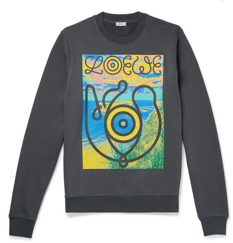 Eye/Loewe/Nature Printed Fleece Back Cotton Jersey Sweatshirt by Loewe