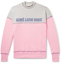 Aimé Leon Dore Logo-Embroidered Colour-Block Loopback Cotton-Jersey Mock-Neck Sweatshirt