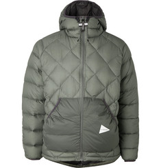 And Wander Quilted Nylon Hooded Down Jacket