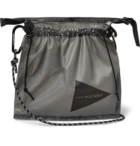 And Wander Shell And Mesh Messenger Bag In Gray