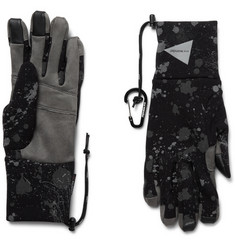 And Wander Leather-Trimmed Reflective Polartec Gloves