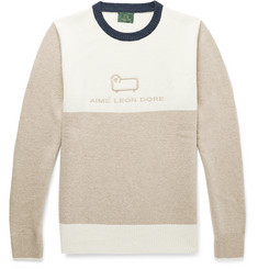 Aimé Leon Dore + Woolrich Logo-Embroidered Colour-Block Wool Sweater