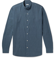 Caruso Slim-Fit Grandad-Collar Herringbone Cotton Shirt