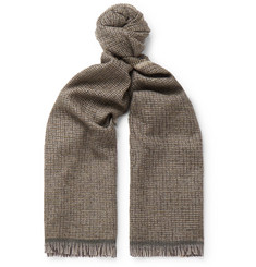 Caruso Fringed Checked Wool-Blend Scarf