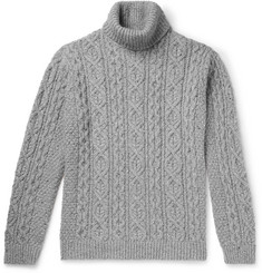 NN07 - Bert Cable-Knit Mélange Knitted Rollneck Sweater