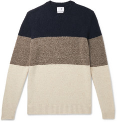 NN07 - Ed Striped Bouclé and Donegal Wool-Blend Sweater