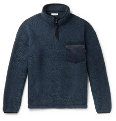 nanamica Velvet and Faux Suede-Trimmed POLARTEC Fleece Half-Zip Sweatshirt