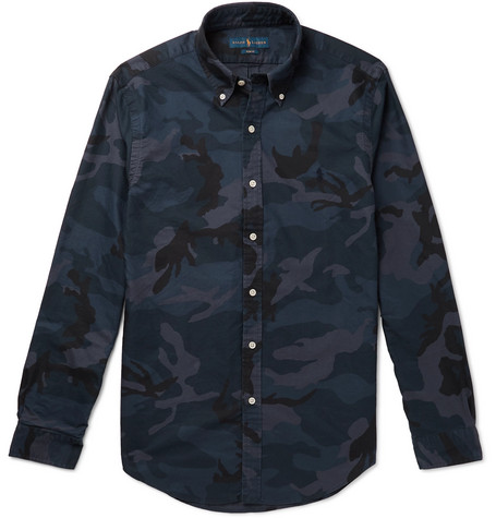 Polo Ralph Lauren Slim-Fit Camouflage-Print Button-Down Collar Cotton-Twill Shirt