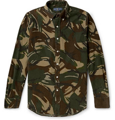 Polo Ralph Lauren Slim-Fit Button-Down Collar Camouflage-Print Cotton-Corduroy Shirt