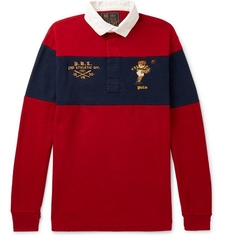 Polo Ralph Lauren – Logo-embroidered Twill-trimmed Striped Cotton-jersey Rugby Shirt – Red