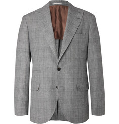 Brunello Cucinelli - Grey Prince of Wales Checked Wool, Linen and Silk-Blend Suit Jacket