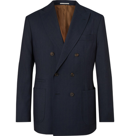 Brunello Cucinelli Navy Double-Breasted Pinstriped Wool, Linen and Silk-Blend Suit Jacket