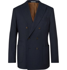 Brunello Cucinelli - Navy Double-Breasted Pinstriped Wool, Linen and Silk-Blend Suit Jacket