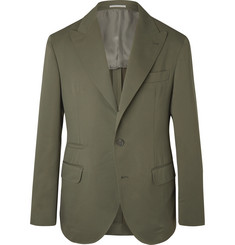 Brunello Cucinelli - Army-Green Wool and Cotton-Blend Twill Suit Jacket