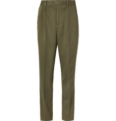 Brunello Cucinelli Army-Green Slim-Fit Pleated Wool and Cotton-Blend Twill Suit Trousers