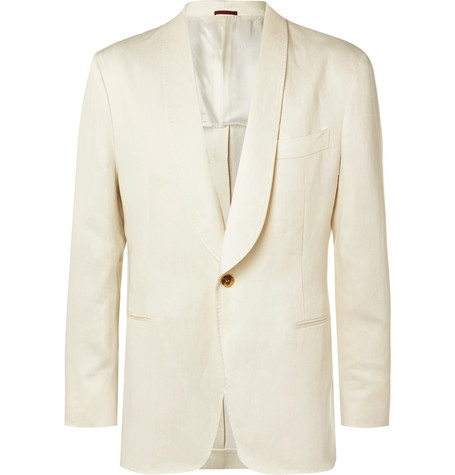 Brunello Cucinelli Cream Unstructured Linen Suit Jacket