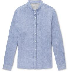 31b0f73491f Brunello Cucinelli - Grandad-Collar Mélange Linen Shirt