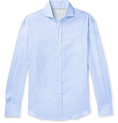 Brunello Cucinelli Slim-Fit Cutaway-Collar Linen Shirt