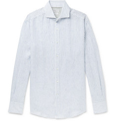 Brunello Cucinelli Slim-Fit Cutaway-Collar Striped Linen Shirt