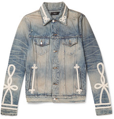 AMIRI Slim-Fit Rope-Trimmed Distressed Denim Jacket