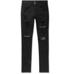 AMIRI Skinny-Fit Embellished Twill-Panelled Distressed Stretch-Denim Jeans