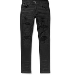 AMIRI Skinny-Fit Panelled Distressed Stretch-Denim Jeans