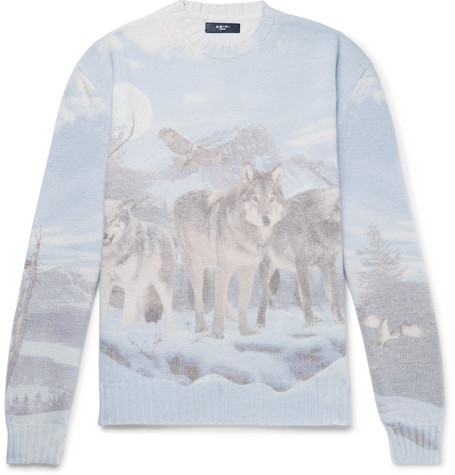 Printed Knitted Sweater by Amiri