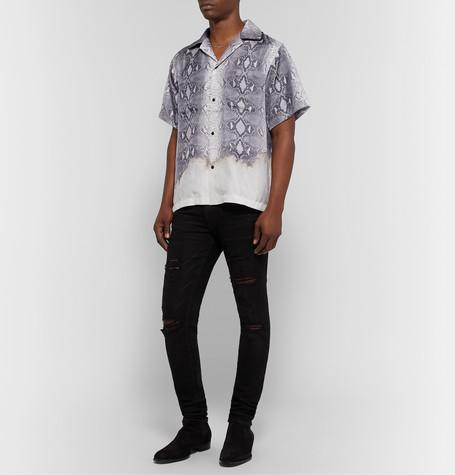 Amiri T-shirts CAMP-COLLAR SNAKE-PRINT SILK SHIRT