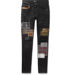AMIRI Skinny-Fit Distressed Appliquéd Denim Jeans