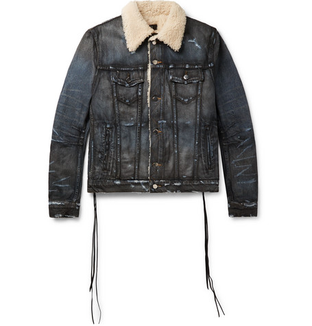 Shearling Lined Distressed Denim Trucker Jacket by Amiri