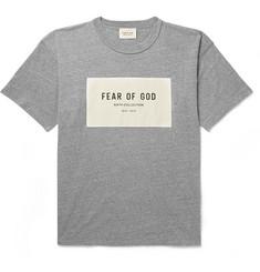 68167f9eacb4 Fear of God - Oversized Logo-Appliquéd Mélange Cotton-Blend Jersey T-Shirt